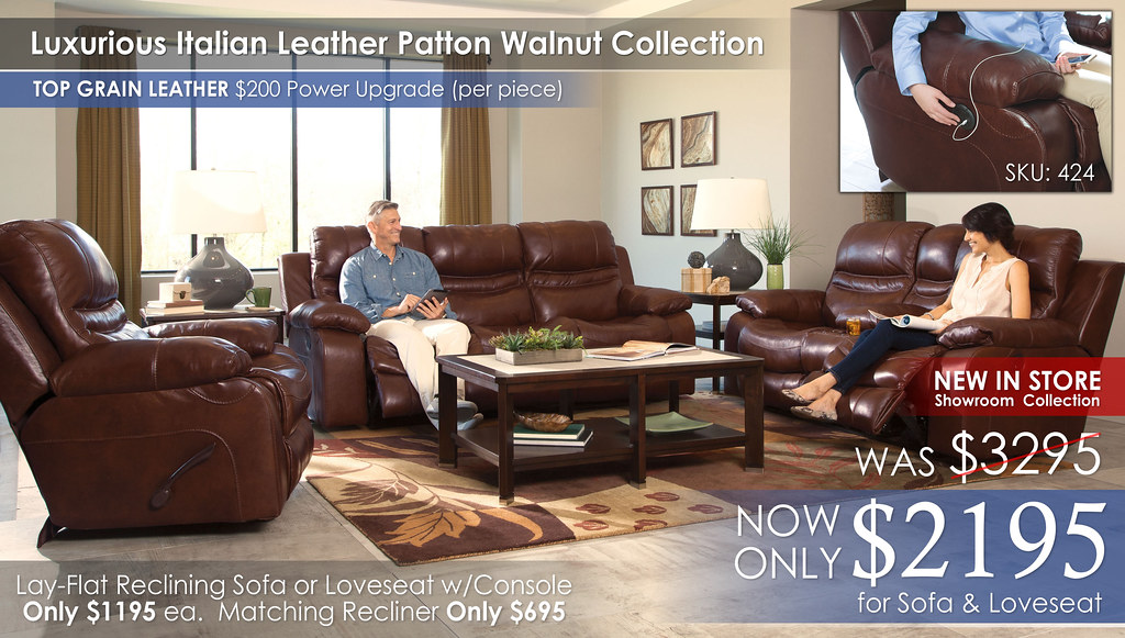 Patton Walnut Reclining Set 424