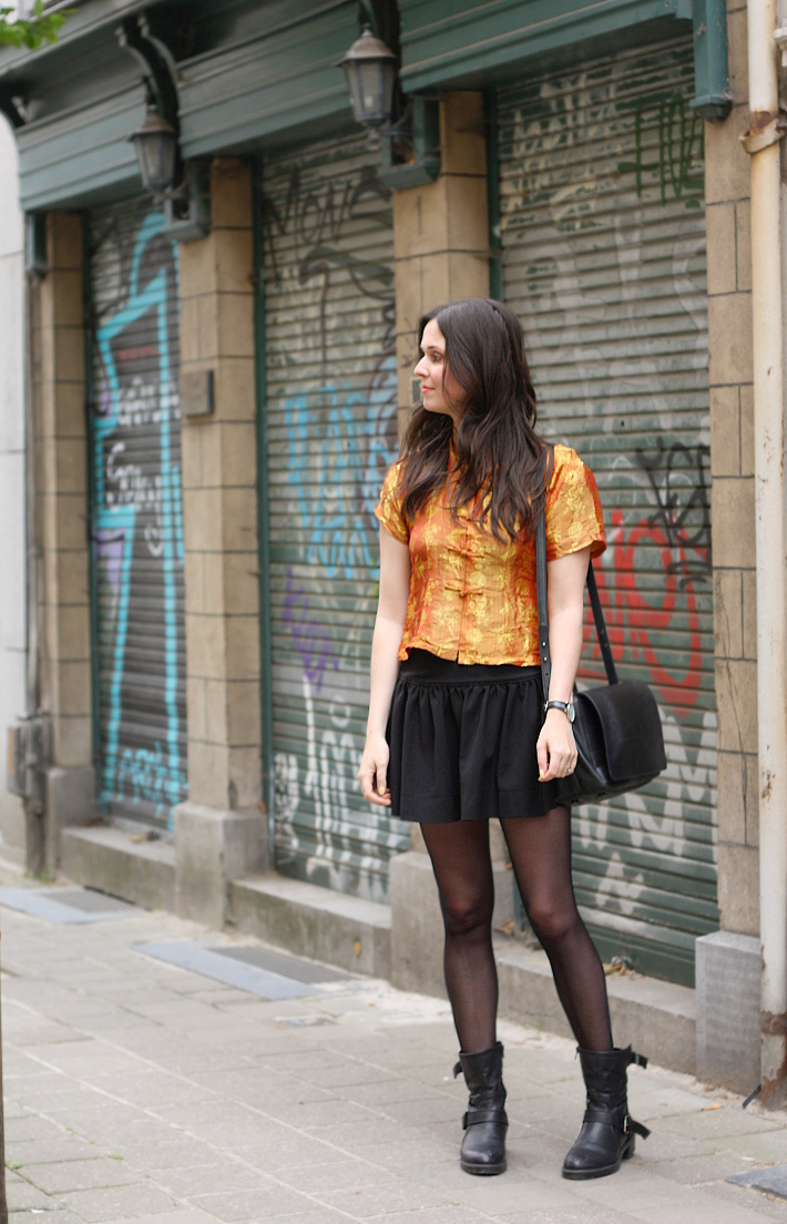 Outfit: Silk cheongsam top, skater skirt and graffiti