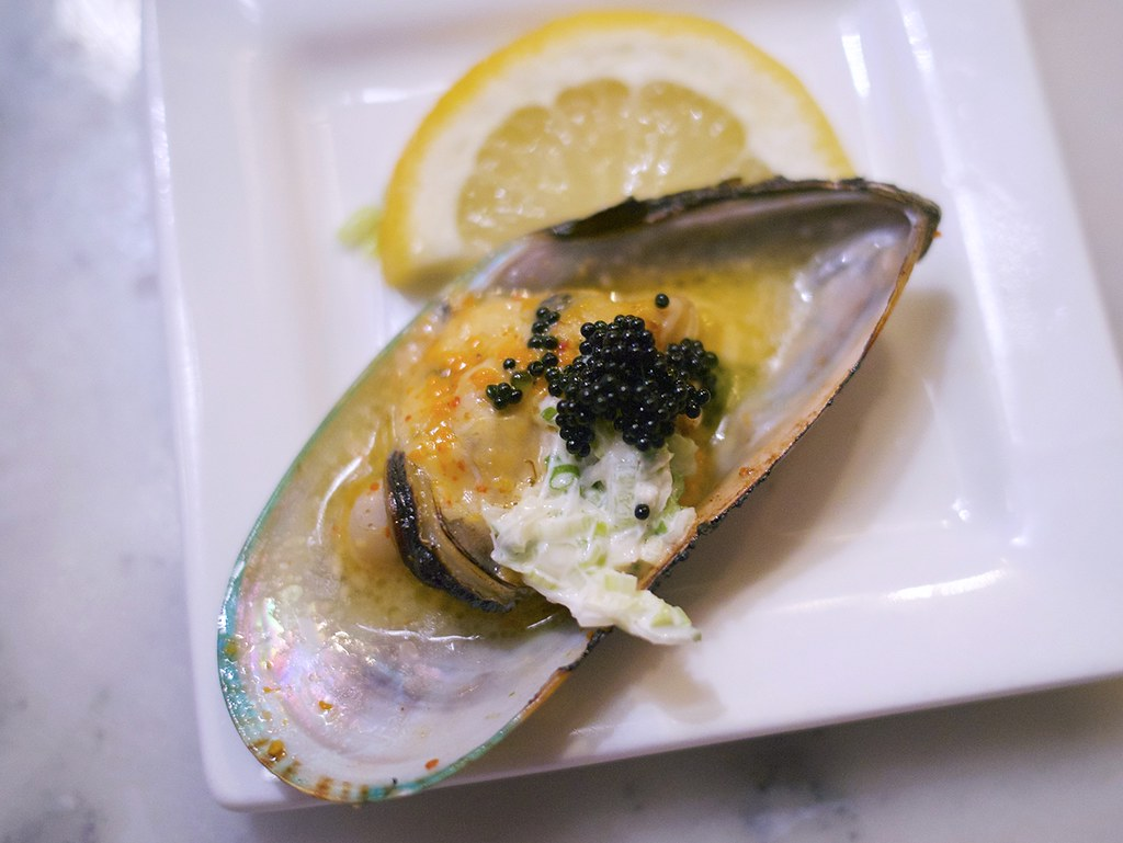 Kai Zan | Sake-steamed mussels topped with tobiko and negi m ...