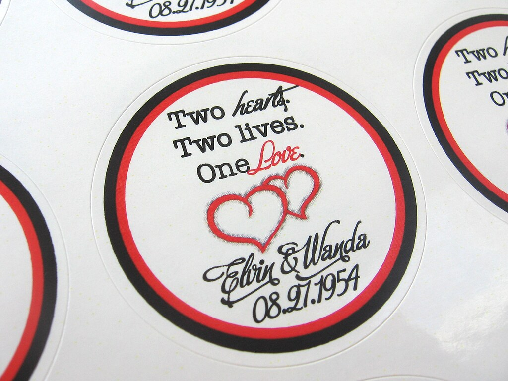 Red Black Double Hearts Custom Wedding Favor Labelstick Flickr