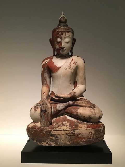 Buddha with earth-touching gesture. Shan state. 18th century. Cities & Kings - Myanmar, Asian Civilisations Museum, Empress Place, Singapore