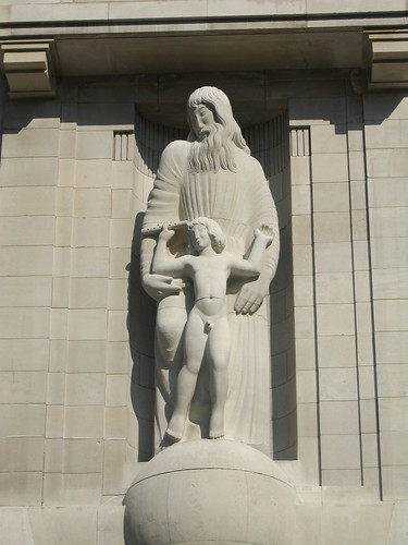 Eric Gill's statue over the front entrance of BBC Broadcasting House. Prospero and Ariel from Shakespeare's The Tempest | by grahambeale