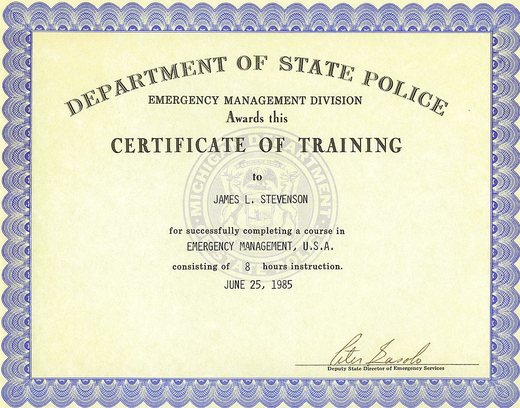 State police certificate 1985 my emergency management u flickr state police certificate 1985 by dr engineer 001 xflitez Choice Image
