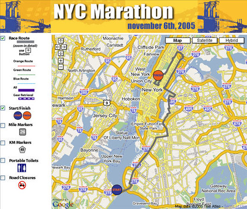 New York City Marathon Google Map Mash-up