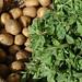 Methi/ fenugreek vegetable and  alu /potato in a basket