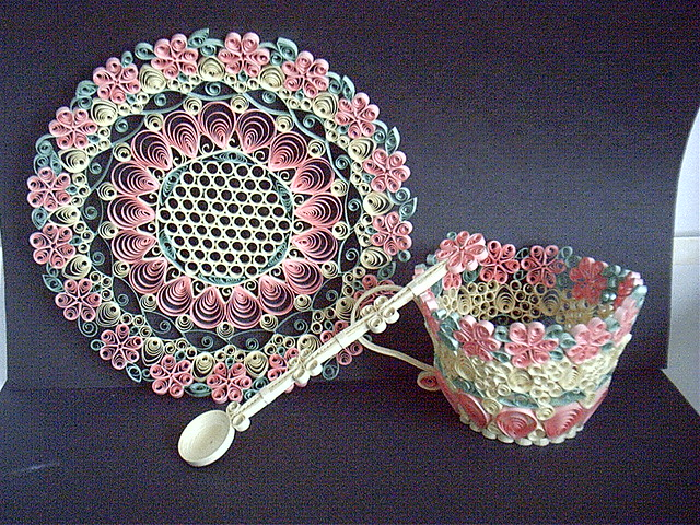Think spring tea cup saucer and spoon this was my first for Quilling kitchen set