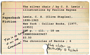 Silver Chair Card An Example Of The New Quot Card Catalog