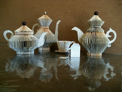 Folded Book Teapots and Cup Sculptures by Clara Maffei