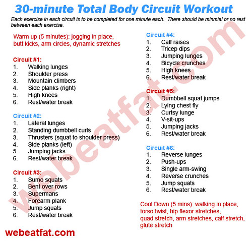 circuit training 30 minute total body workout we beat fat. Black Bedroom Furniture Sets. Home Design Ideas