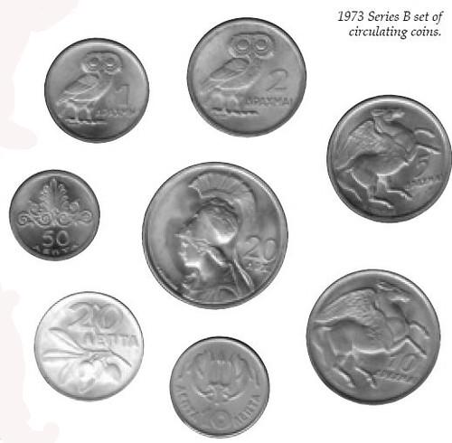 1973 Greece Series B coins