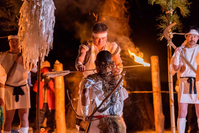 003Traditional ritual ceremony of snow and fire in the village in the mountains,Otari,NAGANO 2017