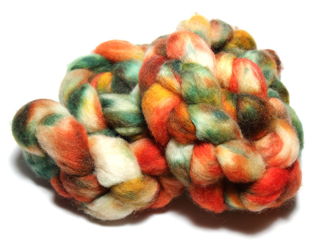 Hand dyed British BFL combed top/roving 'Forest Fire' 130g