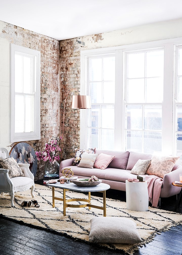 Rose Gold Living Room | Romantic Industrialist Decor | Painted Brick Wall | How to Subtly Decorate with the Color Pink