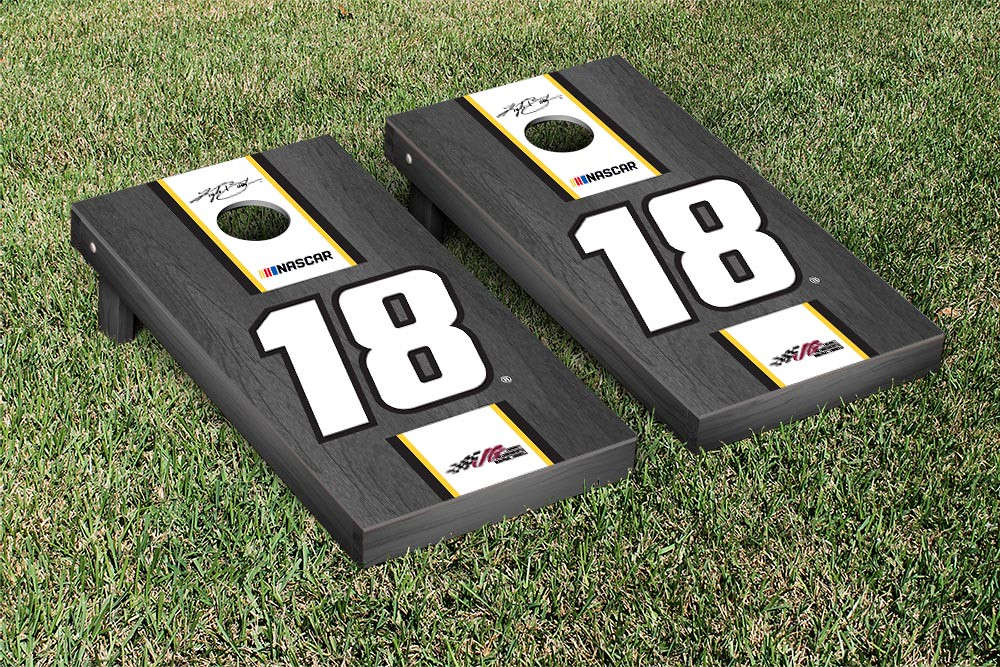 KYLE BUSCH #18 CORNHOLE GAME SET ONYX STAINED STRIPE VERSION (1)