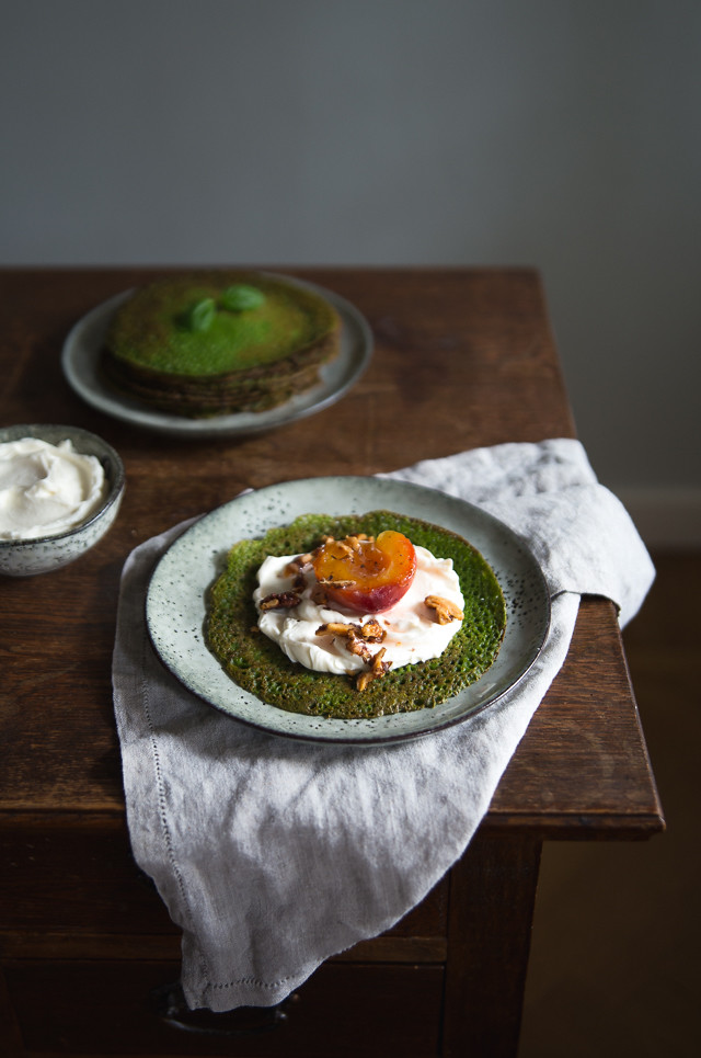 Spinach & Basil Galettes with Goat Cream Cheese & Honey Poached Peaches   Cashew Kitchen