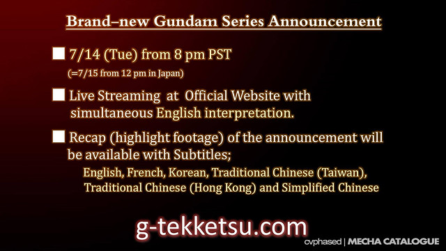 Next Gundam Series Announcement Details