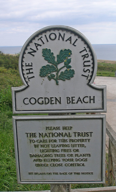 National trust sign at Cogden