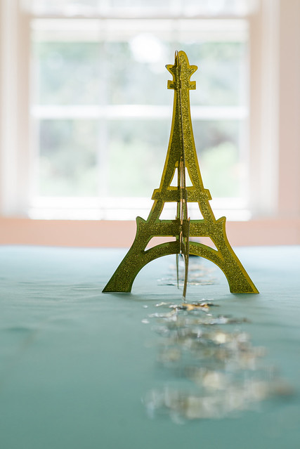 Glitter Eiffel Tower centerpiece.