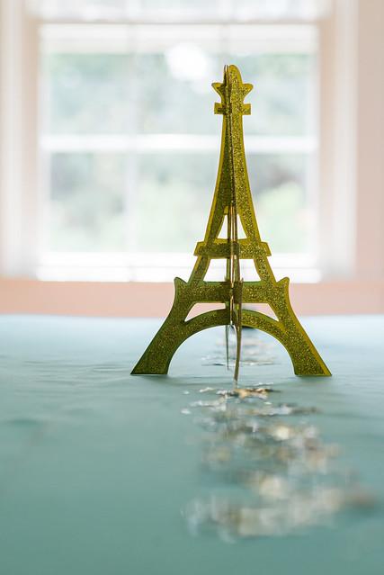 Glitter Eiffel Tower centerpiece.