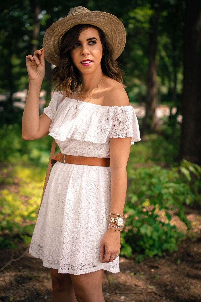 aviza style. a viza style. andrea viza. fashion blogger. dc blogger. off the shoulder white dress. abercrombie dress. floppy hat. white dress. summer style. 20