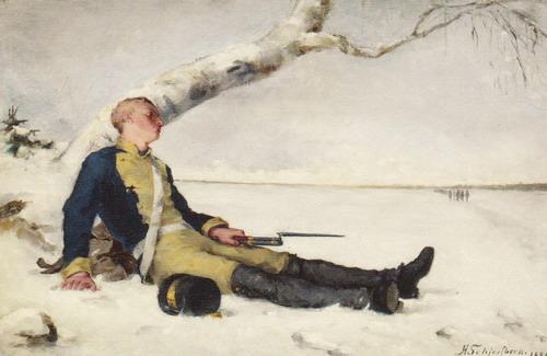 雪の中の負傷兵