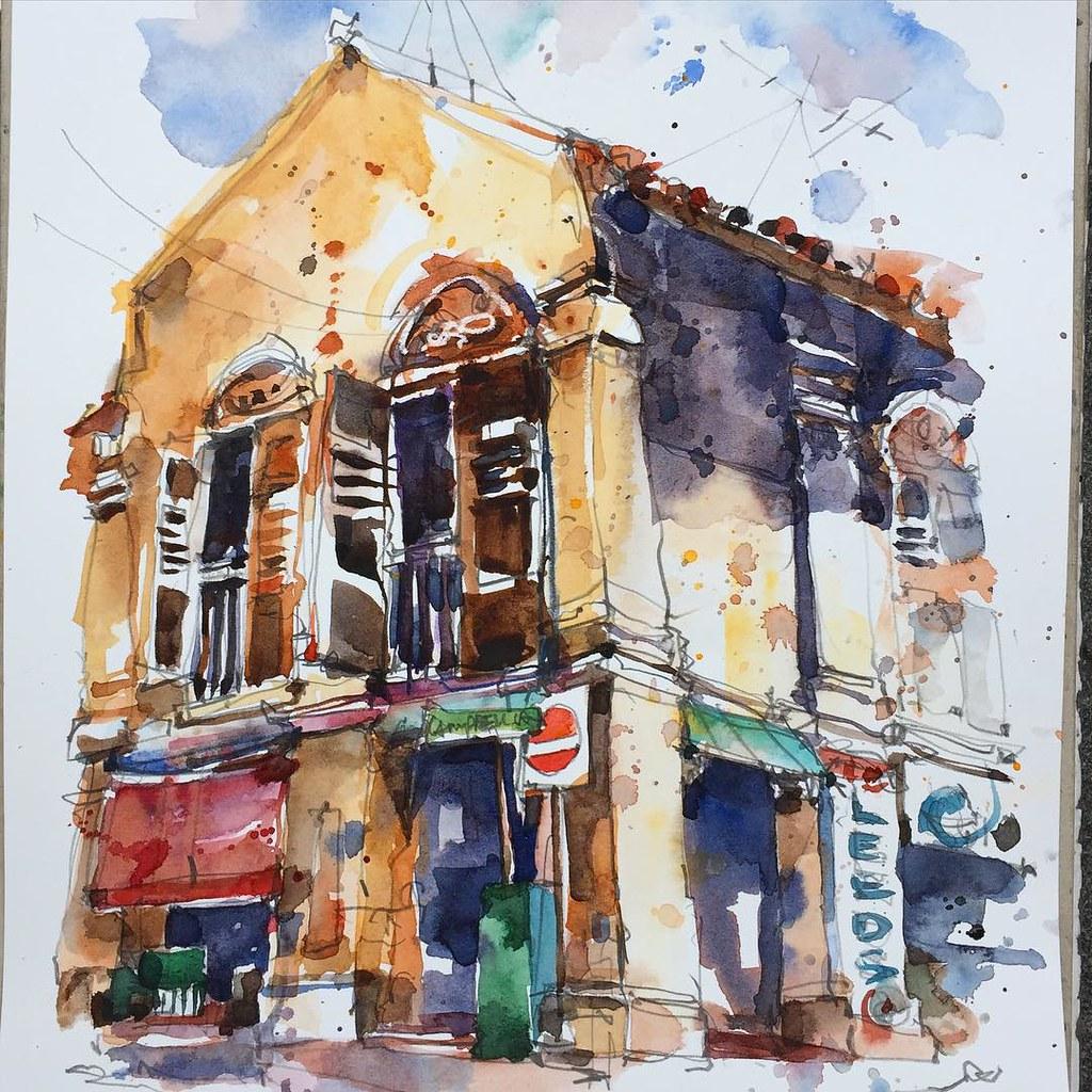 Shop House: Campbell Lane, Little India, Singapore. #urbansketcherssin