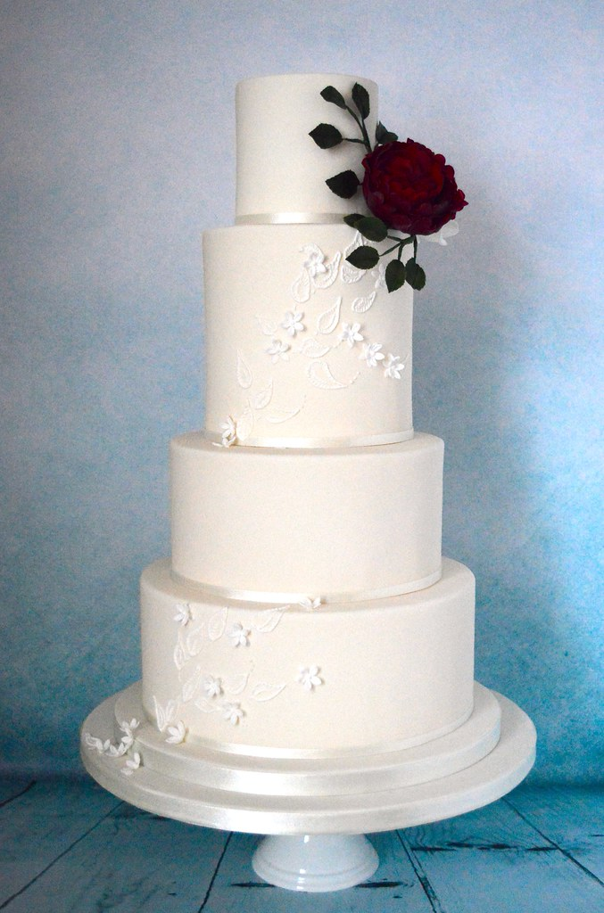 White and Deep Red Wedding Cake | Anna Adams | Flickr