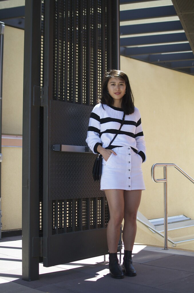 Banana Republic cropped sweater, Forever 21 a-line skirt, Fashion Blog, San Francisco Fashion Blog
