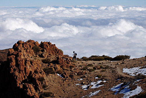 Walking in snow, Teide National Park, December, Tenerife
