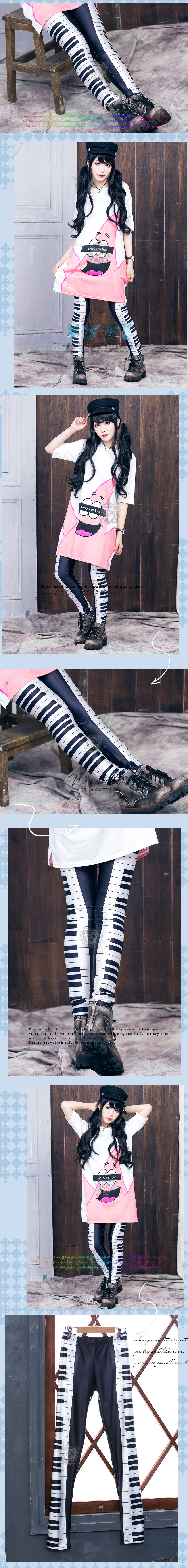 lolita princess diary Music march Piano keyboard 3D print leggings【J1M2039】