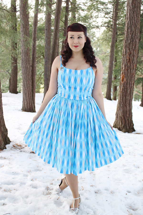 pinup girl clothing ice blue harlequin
