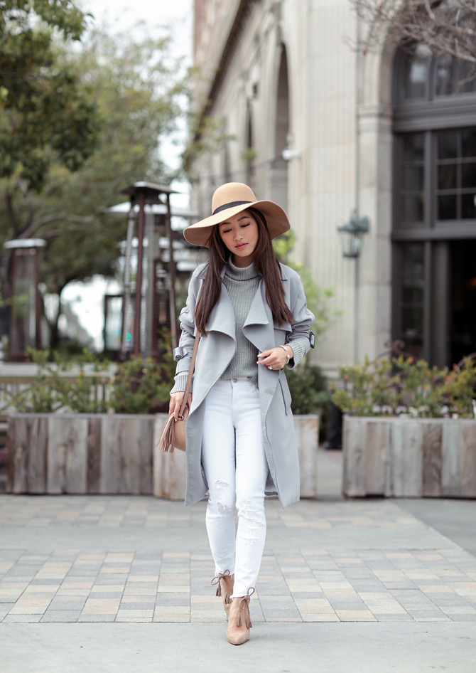 gray trench coat white skinny jeans petite outfit