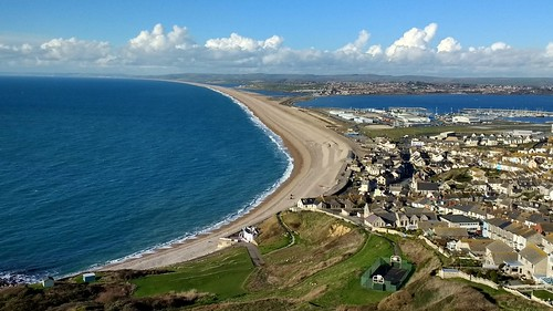 Portland Island - view of Chesil Beach