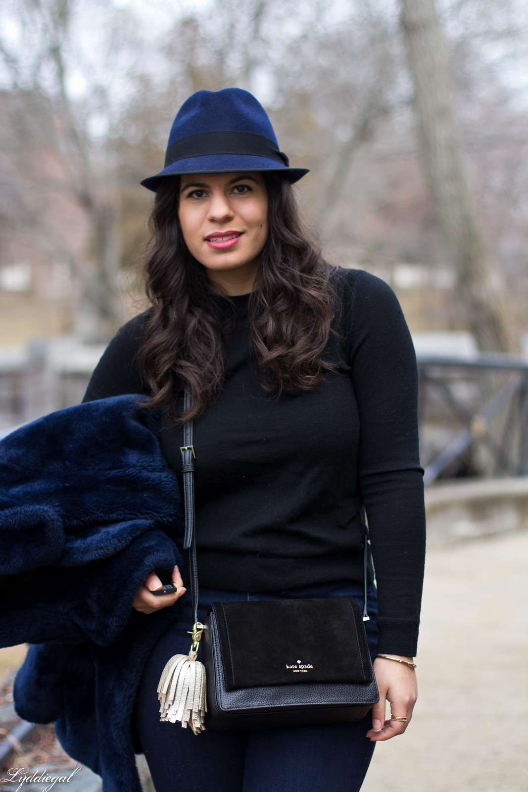 navy fur coat, black sweater, flared jeans, fedora-4.jpg
