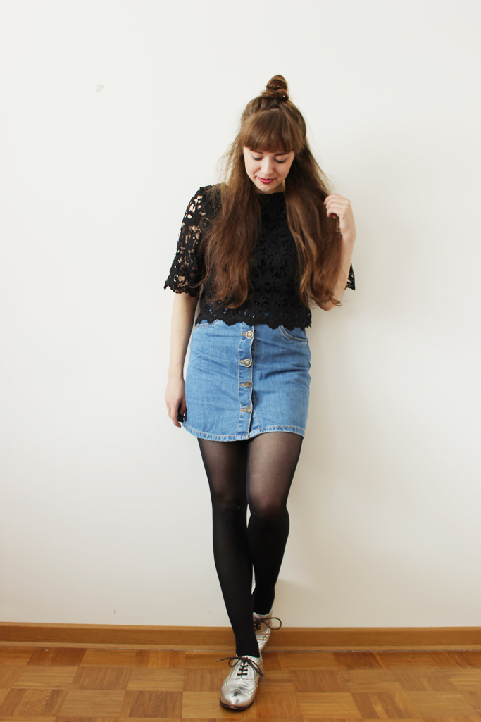 Vintage denim skirt - button down skirt