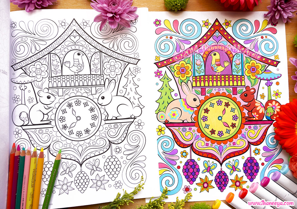 Cuckoo Clock Coloring Page Art By Thaneeya McArdle