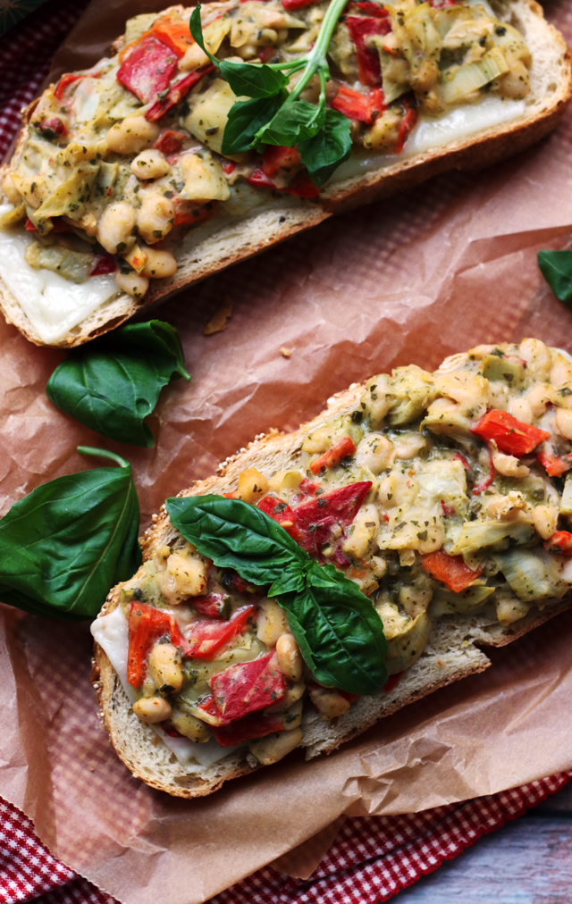 Open-Faced White Bean, Artichoke, and Pesto Salad Sandwich Melts ...