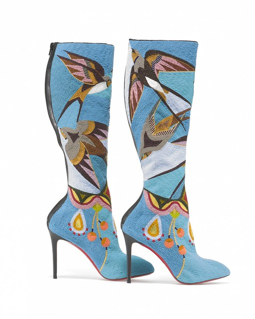 Jamie Okuma (Luiseño and Shoshone-Bannock), boots, 2013–14. Glass beads on boots designed by Christian Louboutin.The Smithsonian's National Museum of the American Indian's Native Fashion Now Exhibit. Photo by Walter Silver.