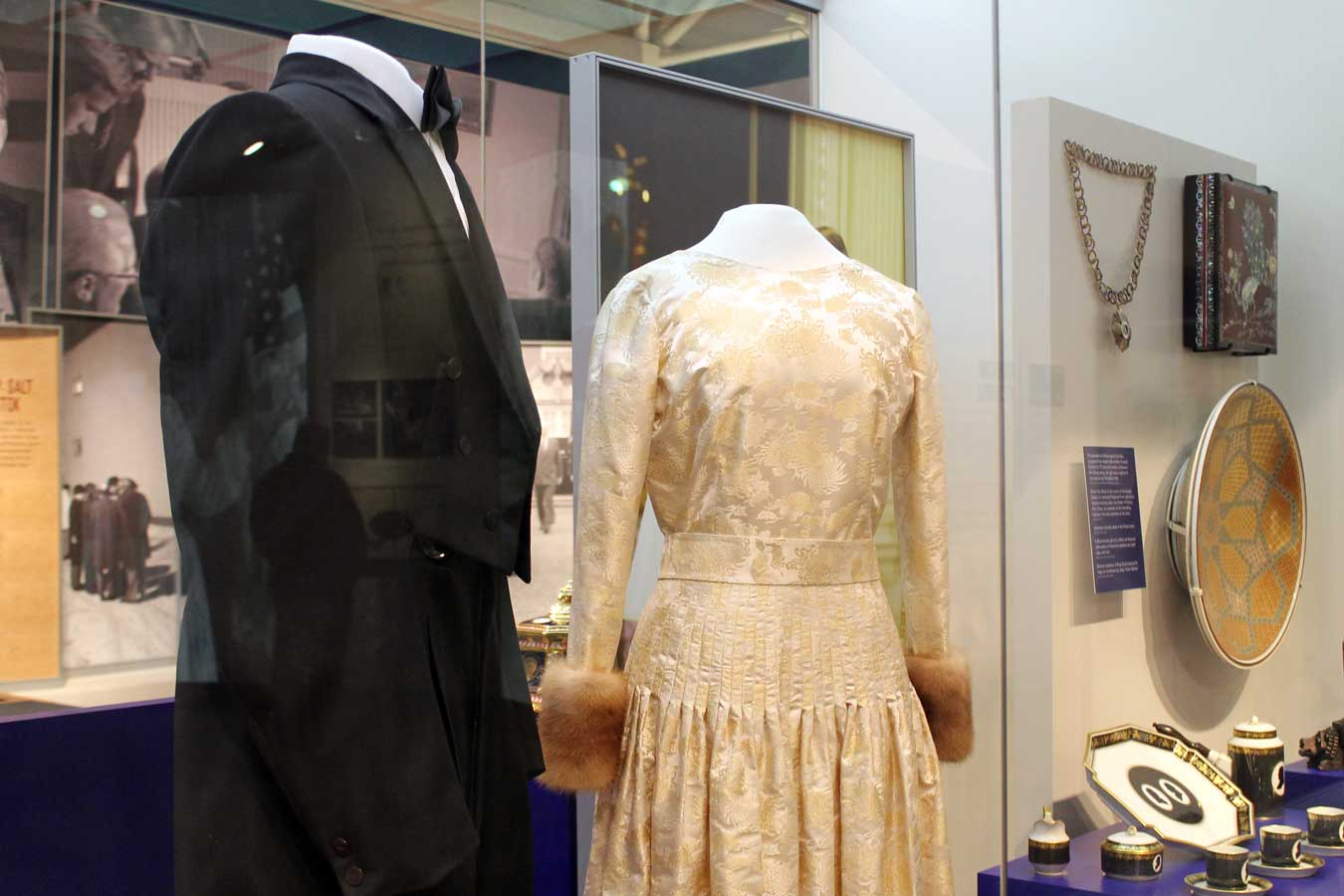 Banquet Attire Worn By Gerald Ford & Betty Ford - See in person at the Gerald R. Ford Presidential Museum in Grand Rapids, Michigan /// Gerald R. Ford Presidential Museum: Legacy Of An Unelected President - (via Wading in Big Shoes)