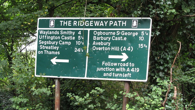 Huge Ridgeway Path sign below Fox Hill.