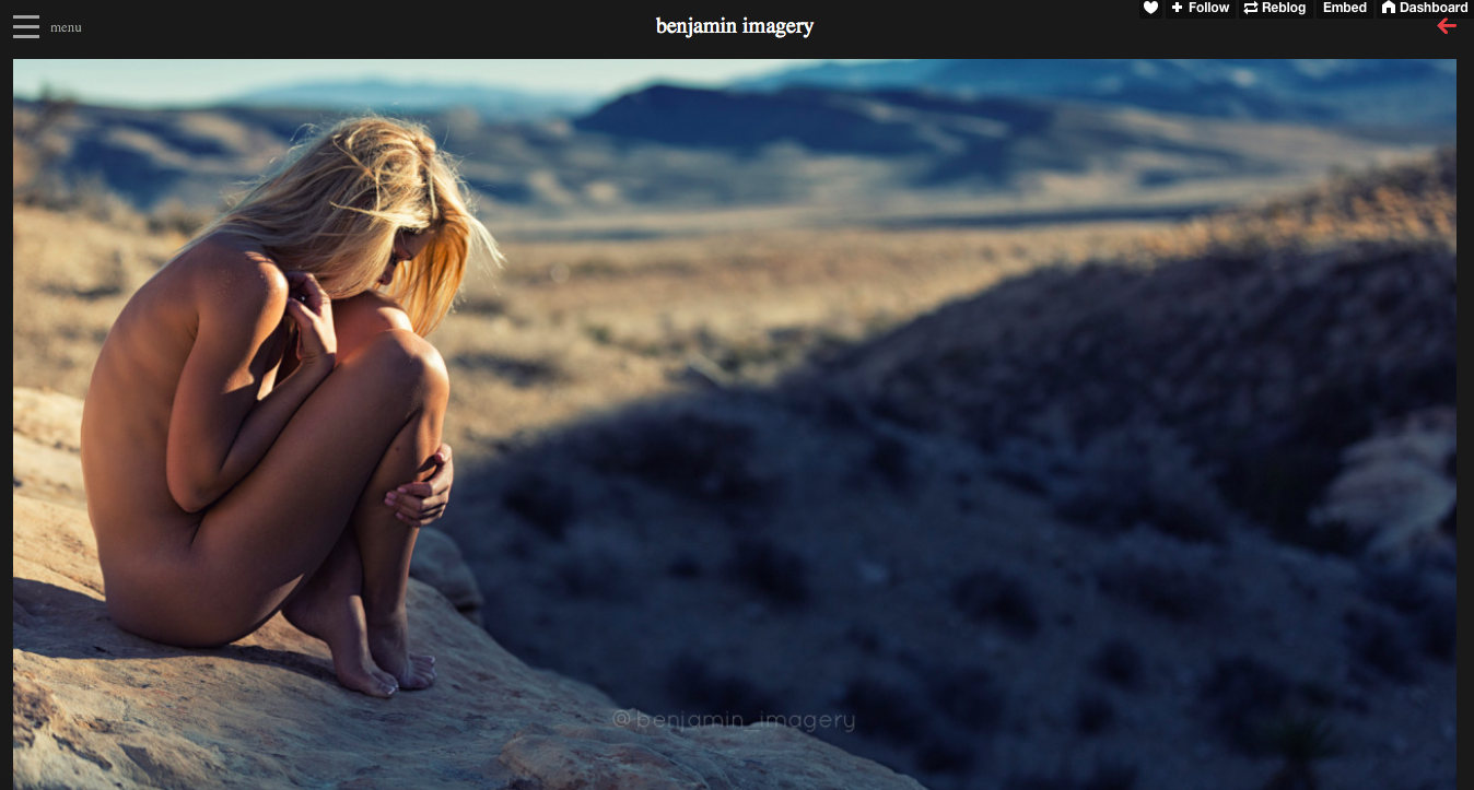 benjamin imagery, nude female in the desert