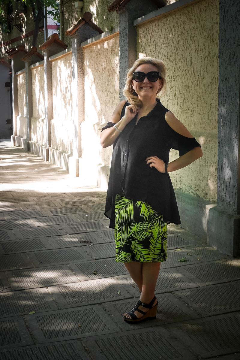Neon Fern Stretch Skirt