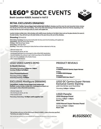 LEGO SDCC 2015 Schedule