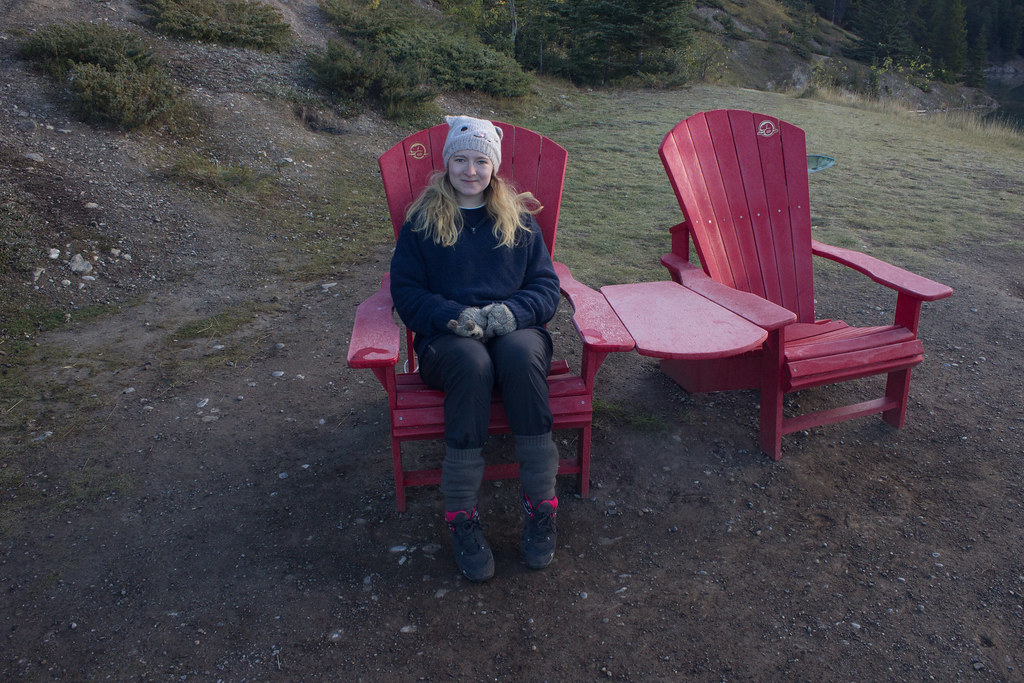 Red chairs, two jack lake