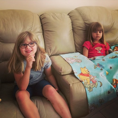 Uncle Chris & Mandy's house has a big couch with a big TV. They've wasted no time making themselves at home.