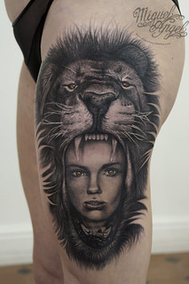 Lion's head and woman tattoo | by Miguel Angel tattoo