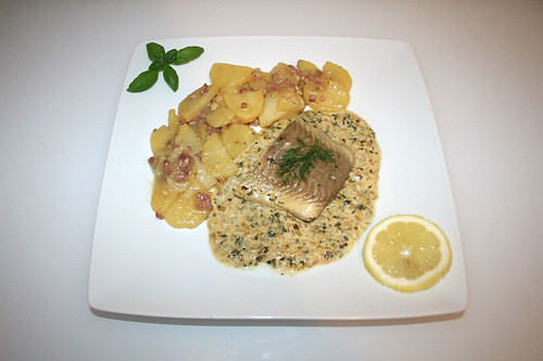 55 - Poached coaldfish in cress sauce with potato salad - Served / Pochierter Seelachs in Kresse-Sauce mit Kartoffelsalat - Serviert