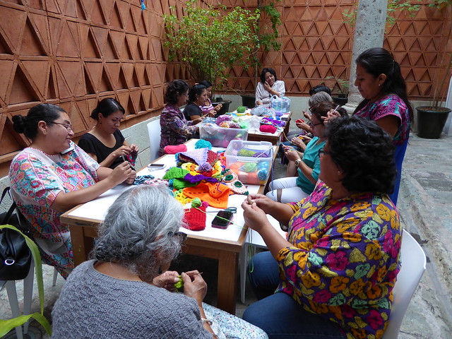 crochet group at Museo Textil de Oaxaca