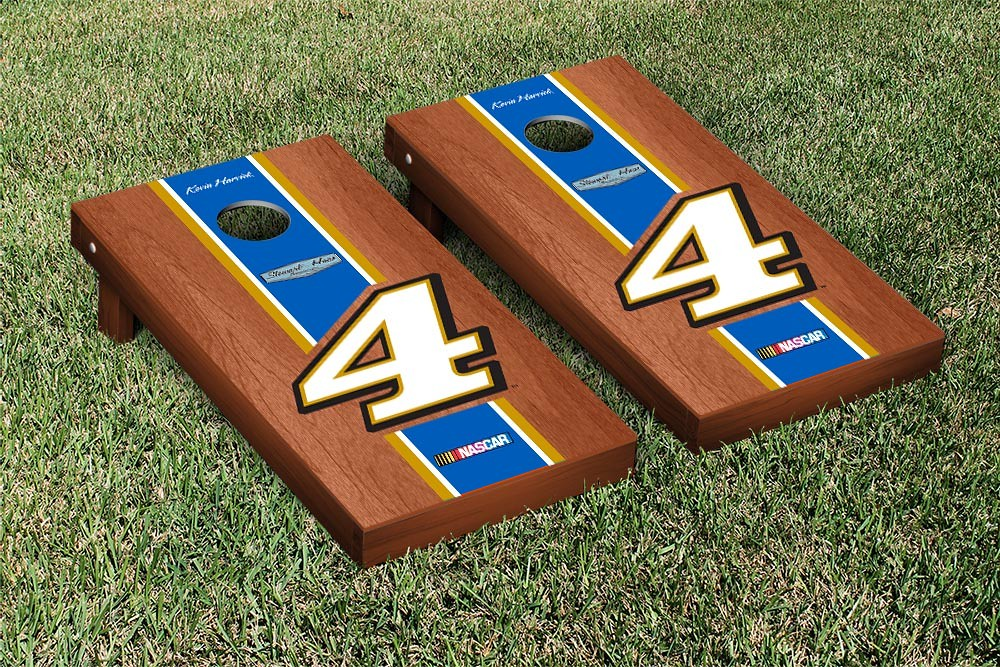 KEVIN HARVICK #4 CORNHOLE GAME SET ROSEWOOD STAINED STRIPE VERSION