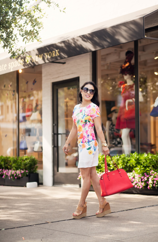 cute & little blog | white floral dress, nude espadrille wedges, red kate spade bag | spring summer outfit